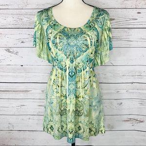 Covington Top Embellished Floral Angel Sleeves